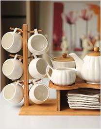 竹制上杯架托盘 整套陶瓷茶杯