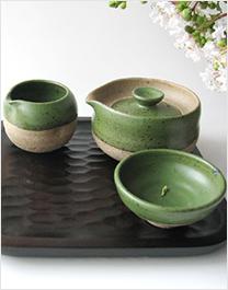 青钱千张 手工陶作绿釉茶具